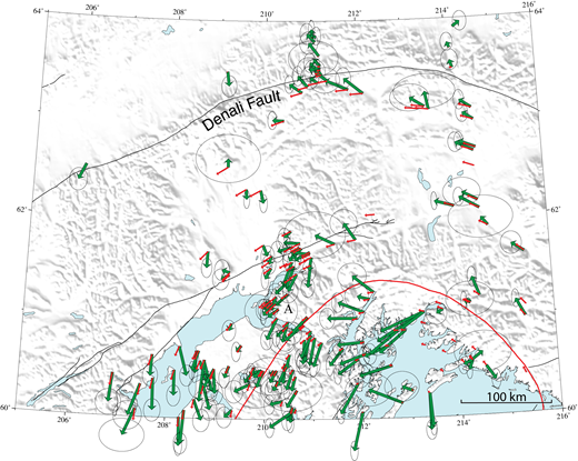 Horizontal global positioning system (GPS) velocities for interior Alaska, after subtracting the effects of subduction zone deformation. Green arrows show geodetic vectors from southern Alaska (Freymueller et al., 2008) after removal of vectors derived from two models (Suito and Freymueller, 2009): (1) the 1964 Great Alaska earthquake after-slip model, and (2) the elastic slip-deficit model. The small red arrows show expected velocities at the geodetic sites, assuming a purely rotational model (Lahr and Plafker, 1980). Some vectors in the Anchorage region were affected by a Benioff zone long slow slip event (Ohta et al., 2006), skewing them trenchward. These modeled velocities show that many of the GPS geodetic velocities are consistent both in sense and magnitude with the counterclockwise rotational model, as expected from rotation of southern Alaska, although it is by no means a perfect fit. In the eastern part, south of the Denali fault, the rotational model vectors and the GPS model vectors are in excellent agreement. Westward, the vectors are consistent with right slip on the Denali fault system, but there is a significant component of shortening across the fault as well. Red line shows approximate extent of 1964 earthquake rupture. A is Anchorage. (Illustration is from Jeff Freymueller, 2015, personal commun.)