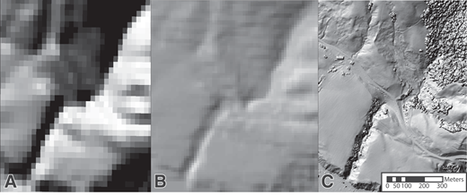 Variable spatial resolution. These images cover the same section of the San Andreas fault in northern California (USA [38.504093, –123.221017]). (A,B) U.S. Geological Survey digital elevation models (DEMs) at 30 m per pixel (A) and 10 m per pixel (B) (National Elevation Dataset, https://lta.cr.usgs.gov/NED). (C) DEM created using lidar data with a resolution of 2 m per pixel (EarthScope Northern California LiDAR Project, doi:10.5069/G9057CV2).