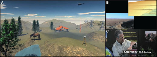 "Content examples from the ""Lidar: Illuminating Earthquake Hazards"" video. (A) Frame from an animation demonstrating how aerial lidar is collected (from Ian Madin, Oregon Department of Geology and Mineral Industries). (B) Comparison of lidar-derived three-dimensional topography with video footage. (C) Clip from an interview with Dr. Ken Hudnut (U.S. Geological Survey) explaining strike-slip fault behavior."