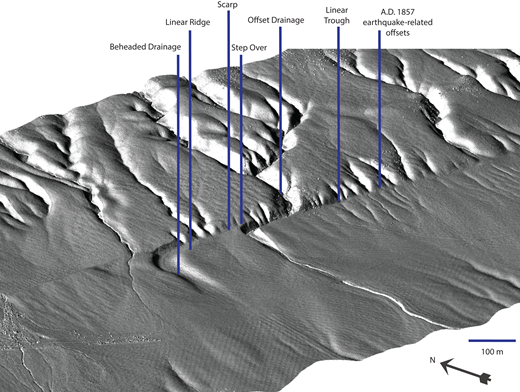 Hillshade of lidar topography of Wallace Creek along the San Andreas fault in the Carrizo Plain, California (USA [35.271681, –119.827691]) with annotated fault zone tectonic geomorphologic features (cf. Sieh and Jahns, 1984; Sieh and Wallace, 1989). Such high-resolution data allow for easy visual identification of features that indicate strike-slip faulting such as linear ridges, scarps, etc.