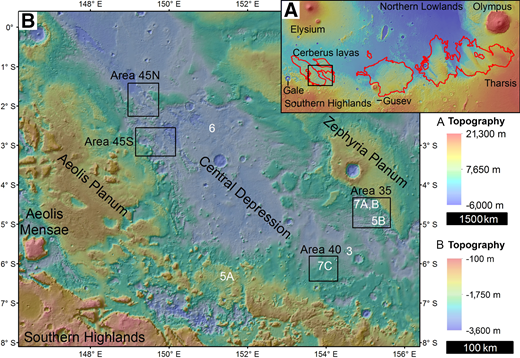 (A) Topographic color and shaded relief of the western equatorial region of Mars. Red outline is the mapped extent of the Medusae Fossae Formation (Scott and Tanaka, 1986; Greeley and Guest, 1987), although outlying deposits have a wider distribution (Bradley et al., 2002; Harrison et al., 2010). Black box corresponds to the extent of B. (B) Topographic color and shaded relief of the Aeolis Dorsa region. These data show the central depression between the regional highs of Aeolis Planum, Zephyria Planum, and the Southern Highlands. Black boxes outline areas of local mapping and stratigraphy. White alphanumeric identifiers correspond to the locations of subsequent figures. Both images are derived from Mars Orbiter Laser Altimeter data (Smith et al., 2001).