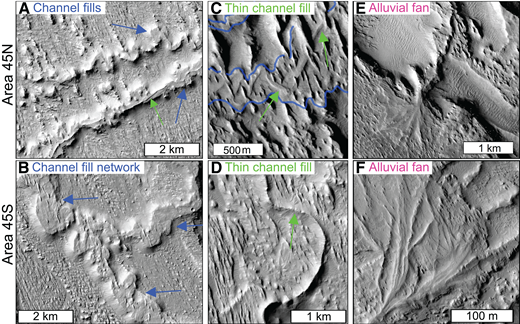 Units in northwest Aeolis Dorsa. See Figure 9 for area locations. (A) Subparallel fluvial channel fills (blue arrows) form in area 45N. The lower channel fill has a thin channel fill (green arrow) on its upper surface. (B) Network of fluvial channel fills (blue arrows) with flat, nondescript upper surfaces. (C) Broad fluvial channel fill (blue outline) is superposed by a thin channel fill (green arrows) and northwest-southeast yardangs. (D) Yardangs with northwest-southeast orientations form adjacent to a thin fluvial channel fill (green arrow). (E) Alluvial fan consists of wide and flat ridges that are morphologically consistent with sheetflood and/or channelized deposits. (F) Alluvial fan in area 45S has broad and thin sinuous ridges also consistent with channelized and/or sheetflood deposits. All images are from the mosaic of CTX images.