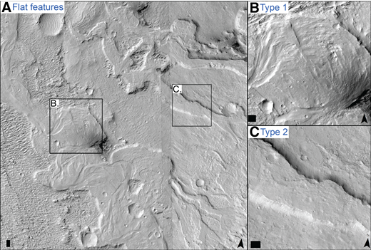 Examples of flat features in Aeolis Dorsa. See Figure 1 for location. Scale bars in the lower left corners are 100 m wide, chevrons in lower right corners point north, and illumination is from the northwest. (A) HiRISE image mosaic shows type 1 and type 2 flat features forming a network in southeast Aeolis Dorsa. (B) HiRISE image (ESP_019249_1745) showing a type 1 flat feature with semi-concentric curved ridges on the upper surface, interpreted to be meandering fluvial deposits (e.g., Burr et al., 2009; Matsubara et al., 2014). (C) HiRISE image (ESP_031209_1740) showing a type 2 flat feature with a textureless upper surface, interpreted to be fluvial channel fill.