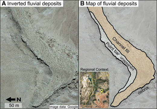 (A) Terrestrial inverted paleochannel deposit, near 38.886°N, 110.305°W (Utah, USA). The inverted deposit is largely composed of channel fill, which has steep sides and a flat, textureless upper surface at the meter-scale resolution of the image. (B) Map showing interpreted units in A. Units in B were adapted from mapping by Harris (1980, his figure 6). Images from Google Earth.