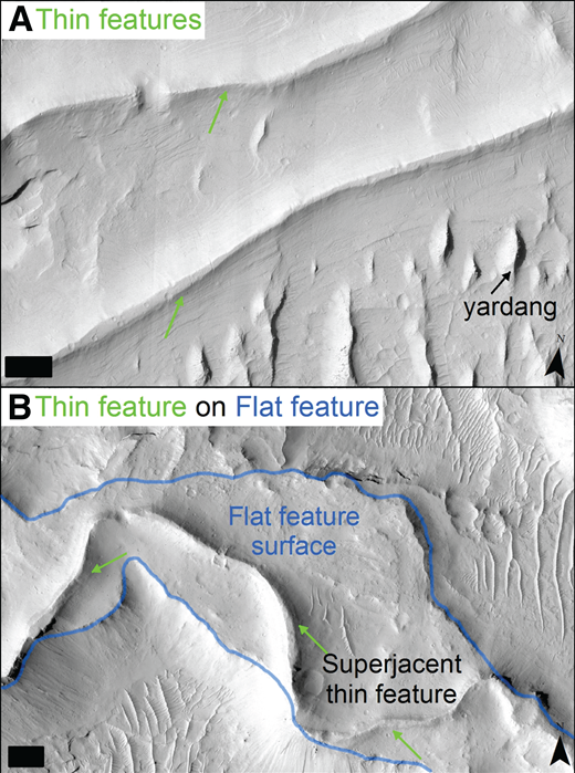Examples of thin features in Aeolis Dorsa. See Figure 1 for locations. Scale bars in lower left corners are 100 m wide, chevrons in lower right corners point north, and illumination is from the northwest. (A) Relatively straight thin features may have sharp crests and/or flat-topped upper surfaces, consistent with channel fills. (B) A thin feature situated on top of a flat feature. Both images are from a mosaic of CTX images.