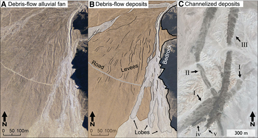 Terrestrial analogs of fan units in Aeolis Dorsa. (A) Dolomite fan is located in eastern California, USA (near 36.60°N, 117.97°W) and includes deposits of debris flows (Blair and McPherson, 1998). (B) Map showing interpreted units in A, adapted from mapping by Blair and McPherson (1998, their figure 4). Black lines are ridges of debris-flow levees. (C) Ancient alluvial fan deposits in the Sharqiya, Oman (22.26°N, 57.82°E), including five generations of channelized and sheetflood deposits, labeled I through v, from oldest to youngest (relative ages based on Maizels, 1990). Lowercase letters represent small deposits previously identified (Maizels, 1990), but are not easily distinguishable from larger deposits in this plan-view image. Data are from Google Earth.