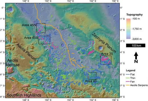 Delineations of over 1600 individual features in the Aeolis Dorsa region displayed over topographic shaded relief and colors, derived from Mars Orbiter Laser Altimeter data (Smith et al., 2001). Flat features, thin features, fan features, and Aeolis Serpens have different geospatial distributions and patterns, but most features are oriented toward the central depression between Aeolis Planum and Zephyria Planum. Four local areas are outlined in black.