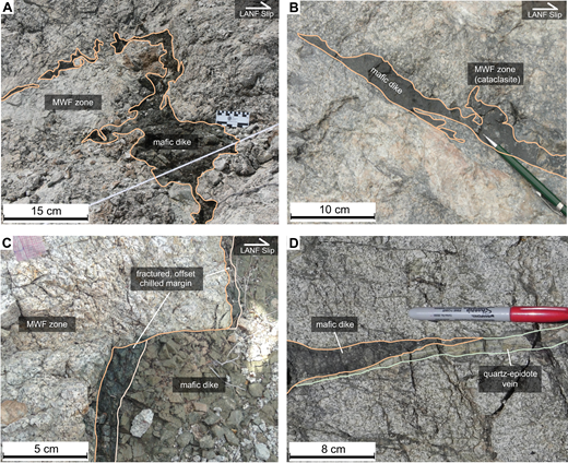 Annotated photographs of fault-zone dikes within the damage zone to the Mohave Wash fault (MWF). LANF—low-angle normal fault. (A) Irregular mafic dike intruded into fractures. (B) Irregular mafic dike intruded into a cataclasite in domain 2 hosting chilled margins. (C) Mafic dike with an offset chilled margin hosting open fractures in domain 2. (D) Mafic dike and quartz-epidote vein interfingering with a sharp to gradational contact in the basal position of the damage zone.