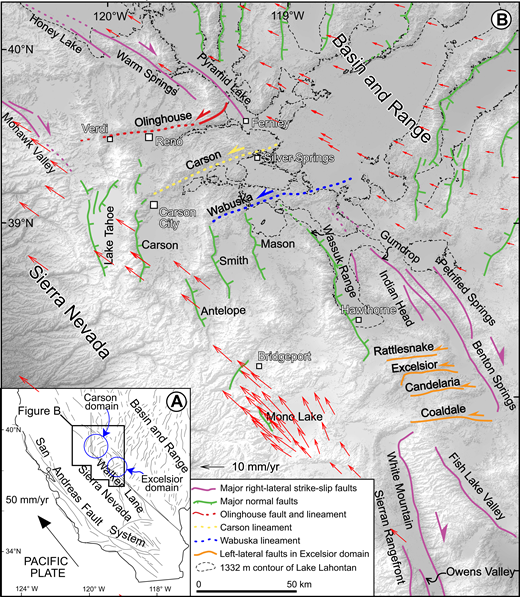 Tectonic setting of the study area. (A) Regional fault map showing faults of the San Andreas, Walker Lane, and Basin and Range. Locations of the Carson and Excelsior domains are outlined by blue circles. (B) Enlarged view of the Walker Lane displaying physiographic and fault trends. The northeast-trending Olinghouse (red), Carson (yellow), and Wabuska (blue) lineaments are the focus of this study. Normal faults (teeth on downthrown side) are green, right-lateral strike slip faults are magenta, and left-lateral strike-slip faults of Excelsior domain are orange. Thin dashed line is highstand contour (1332 m) of pluvial Lake Lahontan. Red arrows are global positioning system velocity vectors plotted with respect to stable North America adapted from Hammond and Thatcher (2007).