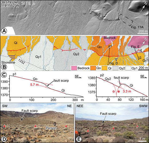 Displaced geomorphic features along the fault trace at site 6. (A) Lidar (light detection and ranging) hillshade image. (B) Quaternary map with active fault scarps shown as red lines (teeth on downthrown side) at the southeastern range front of the Desert Mountains (location outlined by box in Fig. 9). Contour interval is 2 m. See Figure 3 for unit descriptions. (C) Topographic profiles along lines p1 and p2 (shown in B) illustrate the height of scarps. The fault trace is characterized by both uphill- and downhill-facing fault scarps. (D) Field photograph showing fault scarp that forms southeast boundary of Qo surface. (E) Field photograph showing northwest-facing uphill fault scarp. Perspectives of photos in D and E are provided in B.