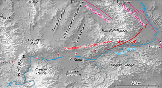 Close up of study area. The Olinghouse lineament is marked by small red arrows, and the left-lateral Olinghouse fault is marked by the solid red line. The Pyramid Lake and Warm Springs faults of the Northern California shear zone are shown as magenta lines.