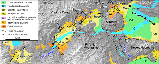 Map of Quaternary deposits along the Carson lineament shows site locations 1 through 5. Dashed white line outlines the extent of lidar (light detection and ranging) coverage. Black lines are active faults. Highstand contour (1332 m) of pluvial Lake Lahontan is thin dotted black line. Generalized map units: Qd—eolian dunes and sheets (green); Qf—Holocene flood-plain deposits (cyan); Qb—basin fill sediments (light yellow); Qy—latest Pleistocene–Holocene sediment (yellow); Ql—lacustrine deposits and wave-washed surfaces of Lake Lahontan; Oi—intermediate-aged (approximately mid- to late Pleistocene) alluvial surfaces (orange); and Qo—older Quaternary surfaces.