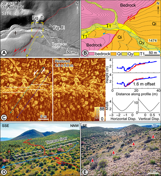 Displaced geomorphic features along the fault trace at site 4. (A) Lidar (light detection and ranging) hillshade image. (B) Quaternary map of area shown in A. See Figure 3 for unit descriptions and labels. (C) Structure-from-motion (SfM) derived slope map (left and middle) shows the left-lateral displaced terrace riser with 1.6 ± 0.8 m offset. Scale bar shows degree of slope angle. Topographic profiles (right) shows the left-lateral and vertical displacements (Disp.). The offsets were measured using LaDiCaoz_v2.1 (see text). (D and E) Field photos of the fault scarp. Perspectives of photos shown in A. Offset terrace riser is marked by dashed white lines in D and points of red arrowheads indicate the base of the fault scarp in E.