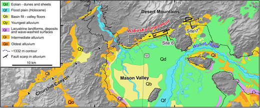Generalized map of Quaternary deposits along the Wabuska lineament shows locations of sites 6 and 7. The extent of lidar (light detection and ranging) coverage is indicated by the dashed white line. Thick black lines are active fault traces. Black arrows delineate the westward extent of the Wabuska lineament. Highstand of pluvial Lake Lahontan (∼1332 m) is dashed black line. See Figure 3 for unit descriptions.