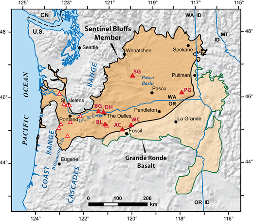 Map showing approximate extents of the Grande Ronde Basalt and the Sentinel Bluffs Member (SB) (after Reidel and Tolan, 2013), and the locations where SB lavas were sampled for this study. Filled triangles—continuous stratigraphic sections in which two or more SB flows were sampled. Red two-letter identifiers for the continuously sampled sections are explained in Supplemental File 3 (see footnote 4). Open triangles—approximate locations of one or more samples from nearby locations (generally within 10 km) for which constraints on stratigraphic position relative to other analyzed SB lavas are lacking; these locations mostly represent 1–3 samples, but 12 samples from 8 locations are represented by the symbol located west of Saint Helens, Oregon. CN—Canada; ID—Idaho; MT—Montana; OR—Oregon; WA—Washington.