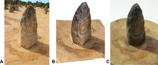 (A) Photograph of original rock pinnacle in the Nambung National Park, Cervantes, Western Australia; (B) rendered image of 3D model generated by the 123D Catch process; (C) final 3D printed model.