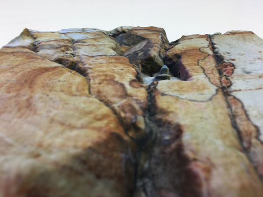 Close-up photograph of the Tasmanian rock-face printed model illustrating the fine geotechnical detail of rock surface features and texture coloration.