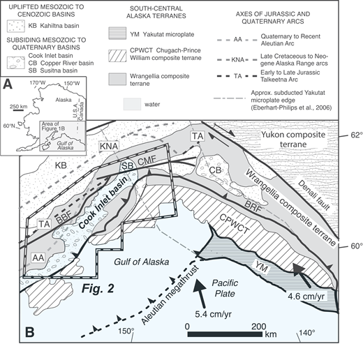 Regional maps of (A) Alaska with inset (shaded rectangle) showing location of (B) tectonic setting of south-central Alaska, including terranes named in the text. The study area is outlined by the white dashed polygon with black background. The map includes elements of the Cook Inlet basin and related(?) Cenozoic depocenters, approximate terrane boundaries, and the schematic locations of Late Jurassic to modern magmatic and volcanic arc axes (thick gray dashed lines). Extent of subducted Yakutat microplate is approximated from Eberhart-Phillips et al. (2006) as thin gray dashed outline. SB—late Paleocene to modern Susitna basin; CB—Eocene(?) to modern Copper basin; KB—Late Jurassic–Early Cretaceous Kahiltna basin; AA—Quaternary–Recent Aleutian Arc axis; KTA—Cretaceous–Neogene arc axis; TA—Early–Late Jurassic arc axis; BBF—Bruin Bay fault system; CMF—Castle Mountain fault; BRF—Border Ranges fault system; CPWCT—Chugach–Prince William composite terrane; YM—Yakutat microplate. Modified from Trop et al. (2003).
