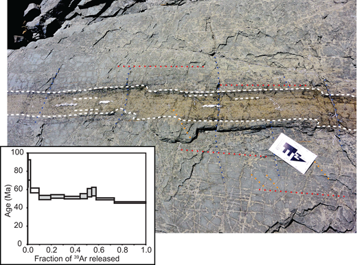 Photograph of a basaltic dike filling a vein of the 310° set (parallel veins shown in red). White dashed lines trace chilled margins parallel to the vein the dike intruded. Note that veins of the 210° (orange lines) and 260° (blue lines) sets are also present, and are both crosscutting and crosscut by the dike (see text). The scale bar points to north and its long edge is 30 cm. Inset: The ca. 52 Ma age spectrum for the 40Ar/39Ar whole-rock date determined for this sample, 14JR21.