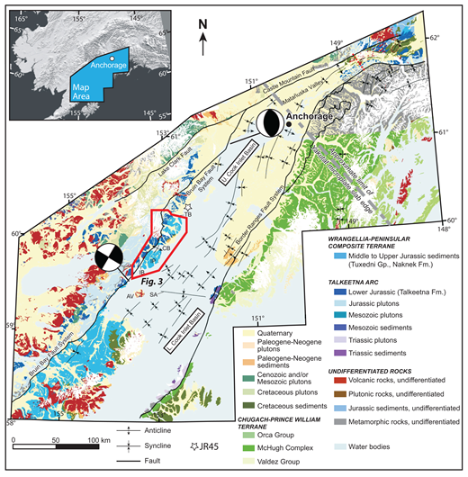 Geologic map of the Cook Inlet basin region, southern Alaska, showing generalized map units as well as prominent faults and folds of the region (modified from LePain et al., 2013, after Winkler et al., 2000) (U.—upper; L.—lower). Focal mechanisms indicating the modern stress field are derived from Ruppert (2008) and the western edge of the Yakutat block is from Eberhart-Phillips et al. (2006). The vein study area is outlined in red. AV—Augustine volcano; CB—Chinitna Bay; IB—Iniskin Bay; IP—Iniskin Peninsula; SA—Seldovia arch; TB—Tuxedni Bay.