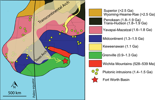 Paleogeographic map showing basement provinces in southern Laurentia and our inferred southeastward sediment dispersal (yellow) from the Texas Arch (light brown) to the Fort Worth Basin (red star) during the Late Cambrian. Basement province map is modified after Thomas (2006), Stoeser et al. (2007), and Whitmeyer and Karlstrom (2007).