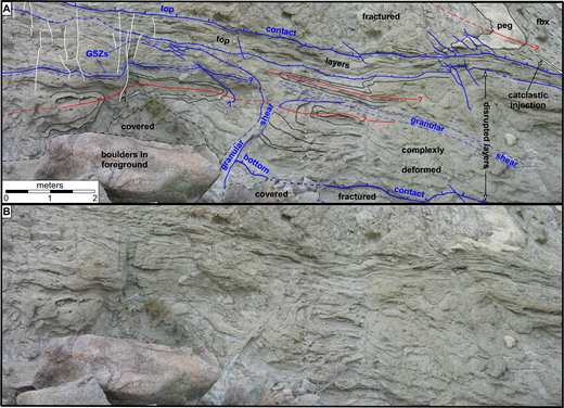 (A) Outcrop map (view to SW) of representative part of the SW flank of the outcrop antiform. The top layers are subparallel to the top contact and overlie the disrupted layers along a narrow zone of shear. Disrupted layers are isoclinally and recumbently folded and are cut by both sharp faults (blue lines, with ticks where gently dipping) and granular shear zones (GSZs; outlined by blue dashed lines). A pegmatite dike (peg, upper right) is folded and attenuated by shear above the top contact. Red lines show traces of fold axial surfaces. Thin white lines on left show some of the late fractures and calcite-gypsum veins. Scale bar is only approximate due to photo distortion. (B) Same photo as (A), without lines.