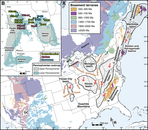 (A) Regional index map of eastern North America including the modern extent of basement terranes (Whitmeyer and Karlstrom, 2007), sedimentary cover (shown in white; Reed et al., 2005), major sedimentary basins (Coleman and Cahan, 2012), and major igneous belts along the eastern margin (Reed et al., 2005). Stippled patterns show locations of sedimentary basins discussed in the text. Red arrows indicate generalized paleoflow directions for Pennsylvanian strata. (B) Generalized geologic map of the study area showing modern surface extent of Pennsylvanian strata (Reed et al., 2005) and sample locations. MCR—Midcontinental Rift; GC—Grand Canyon.