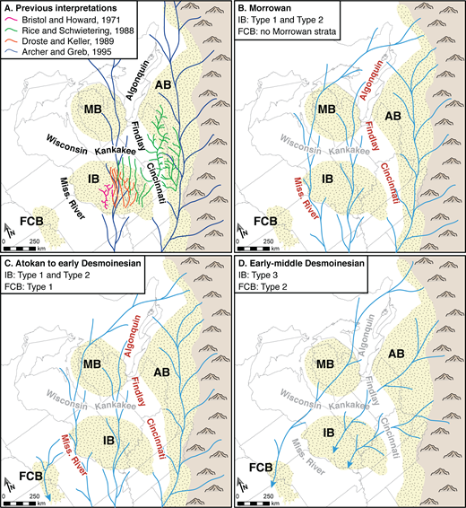 Schematic paleogeographic reconstructions showing previously interpreted as well as our inferred paleogeographic evolution of eastern North America during Early–Middle Pennsylvanian time. These diagrams illustrate the general sediment dispersal patterns for each time period shown. Details of each illustration are discussed in the text. Positions of structural basement arch complexes that are inferred to have a topographic expression are shown in red, and those inferred to not influence sediment dispersal patterns for each time period are shown in gray.