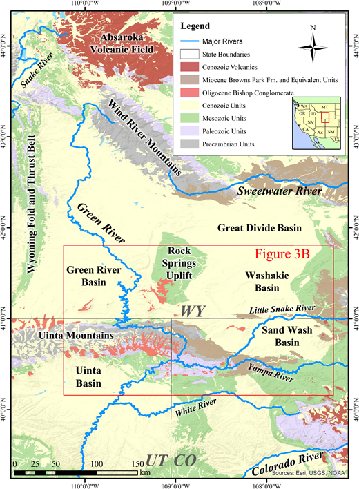 Map showing generalized geology of western Wyoming (WY), northwestern Colorado (CO), and northeastern Utah (UT). Red box outlines the general study area (Fig. 3B). Fm.—formation. Inset map shows the study area within the western United States.