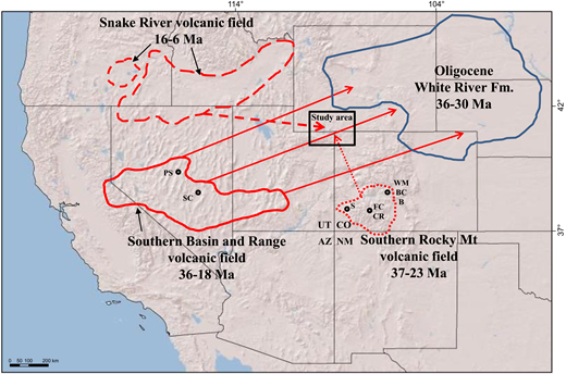 Map showing Oligocene–Miocene volcanic centers including the Snake River, southern Basin and Range, and Southern Rocky Mountain volcanic fields (solid and dashed red lines), paleowind directions (solid and dashed red arrows), the approximate distribution of tuffaceous Oligocene White River Formation deposits (blue solid line), and the study area (black box). Black circles mark the approximate locations of calderas associated with ignimbrite units referred to in the text. Abbreviations refer to ignimbrite units associated with the calderas: B—Bonanza, BC—Badger Creek, CR—Carpenter Ridge, FC—Fish Canyon, PS—Pancake Summit, S—Sapinero Mesa, SC—Stone Cabin, and WM—Wall Mountain Tuffs. Data were compiled from Best et al. (1989, 2013), Larson and Evanoff (1998), Swisher and Prothero (1990), Obradovich et al. (1995), Perkins et al. (1998), Perkins and Nash (2002), and Lipman and Bachmann (2015). AZ—Arizona; CO—Colorado; NM—New Mexico; UT—Utah.