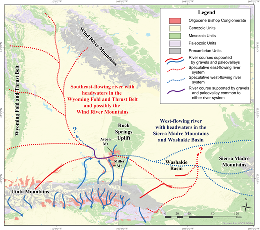 Map showing possible courses of the late Eocene to early Oligocene (ca. 36–27 Ma) Bishop river system in the southern Green River Basin of Wyoming and adjacent areas. The river system could have flowed southeast across southwestern Wyoming with headwaters in the Wyoming fold and thrust belt and Wind River Mountains (red lines). Alternatively, the river system could have flowed west with sources in the Sierra Madre Mountains (blue lines).