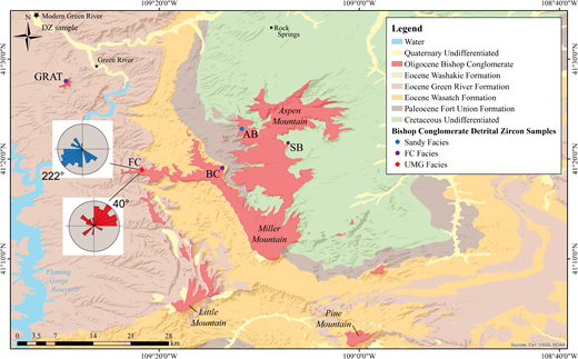 Geologic map of the southern Rock Springs uplift in southwestern Wyoming. Locations of paleocurrent data for the UMG (Uinta Mountain Group) and FC (Firehole Canyon) facies of the Bishop Conglomerate are shown. Detrital zircon sample and FC and UMG abbreviations are as in Figure 3B. Location of modern Green River detrital zircon sample (black star) is also shown.