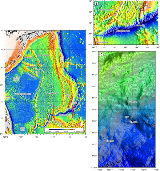 (A, B) Location maps for geographic features in the Izu-Bonin-Mariana subduction system and Philippine plate mentioned in the text. (C) Locations for the 2010 Shinkai 6500 dive sites. WSRBF—West Santa Rosa boundary fault; SSF—Shinkai Seep Field (Ohara et al., 2012).