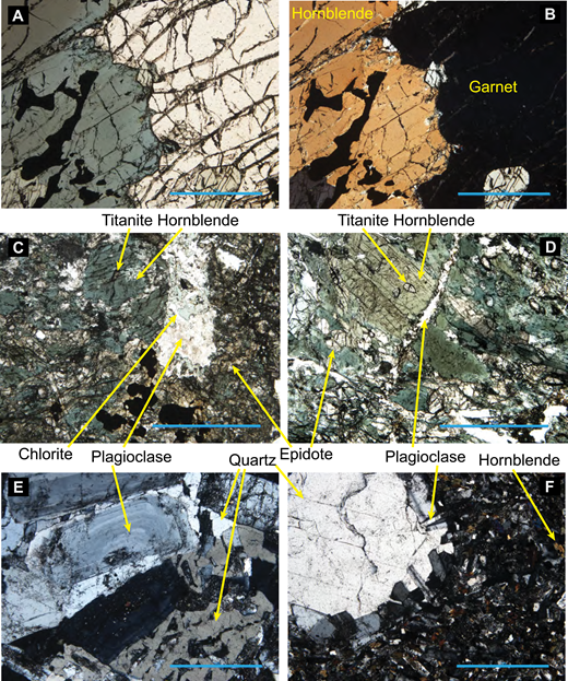Photomicrographs of samples used in this study. (A) 6K1232R7 garnetite plane polarized light (ppl); (B) 6K1232R7 garnetite crossed polars (xpl); (C) 6K1232R16 epidote amphibolite ppl; (D) 6K1232R13 epidote amphibolite ppl; (E) 6K1236R14 tonalite xpl; and (F) 6K1236R14 quartz diorite xpl. Scale bars = 1 mm. The principal mineral phases in each thin section are illustrated. Opaque grains in (A) and (B) are primarily ilmenite with inclusions of magnetite and titanite based on scanning electron microscopy–energy dispersive X-ray spectroscopy (SEM-EDS) analysis.
