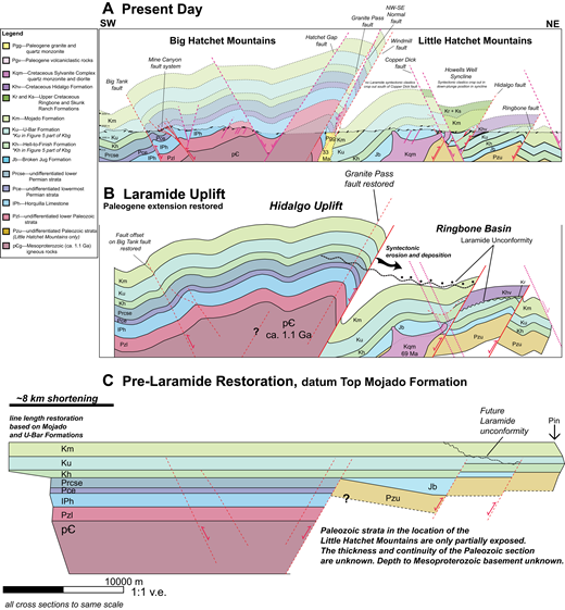 Structural restoration of the Little and Big Hatchet Mountains with preserved formation thicknesses and line length. Formation labels as in Figures 5 and 10 (v.e.—vertical exaggeration). (A) Present-day structure with dip tadpoles and projected contacts based on field relations. Line of section is identical to Figure 7A and location is shown as A-A' in Figure 5. (B) Paleogene extension and magmatism restored. Fault offset on the Big Tank and Mojado faults is restored to simplify section. Section illustrates the asymmetry of the bivergent Hidalgo uplift. The Laramide unconformity represents a conceptual erosional base over the main uplift that existed during Laramide shortening. This line of section does not intersect Laramide synorogenic strata directly north of the Copper Dick fault; however, Laramide synorogenic rocks are only preserved in the northern hanging wall. (C) Schematic pre-Laramide line length restoration. Line lengths for Mojado and U-Bar Formations were preserved across the cross section and indicate ~8 km of shortening. Limited Paleozoic exposures in the Little Hatchet Mountains do not permit robust inferences regarding the stratigraphic thickness of the Paleozoic section and the nature of the Paleozoic and Mesozoic contact north of the Granite Pass–Windmill fault system; therefore, the Paleozoic section is not restored in detail. The Broken Jug Formation (Jb) does not crop out in the Big Hatchet Mountains and the thickest known exposures occur south of the Copper Dick fault. The northern limit of the Jb is unknown; however, the section likely thins northward onto higher former rift blocks.