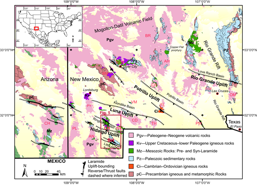 Geologic map of southwestern New Mexico (scale 1:500,000) and southeastern Arizona (scale 1:1,000,000). Northwest-southeast Laramide structures and their inferred positions across ranges are dashed and correlate to exposed structural and stratigraphic relationships, well penetrations, and subregional extrapolations (Seager, 2004). The names of the principal Laramide uplifts and basins are italicized. Note the dominant rock exposures in the region consist of Paleogene–Neogene volcanic rocks (pink). The Little and Big Hatchet Mountains (study area) offer a unique exposure of Paleozoic and Mesozoic rocks along a north-south transect offset by various northwest-southeast Laramide structures, and expose the roots of the Hidalgo uplift and syn-Laramide strata of the Ringbone Basin. Geologic map of New Mexico from Green and Jones (1997); geologic map of Arizona is from Richard et al. (2000). The geographic information system map format was made available through Ludington et al. (2005). Labeled ranges include Animas Hills (AH), Animas Mountains (AN), Big Hatchet Mountains (BH), Black Range (BR), Burro Mountains (BM), Chiricahua Mountains (CH), Caballo Mountains (CM), Cookes Range (CR), Cedar Mountain Range (CD), East Potrillo Mountains (PM), Florida Mountains (FL), Little Hatchet Mountains (LM), Organ Mountains (OM), Peloncillo Mountains (PL), Pyramid Mountains (PY), Robledo Mountains (RM), San Andres Mountains (SA), Silver City Range (SCR), Sierra Rica Mountains (SR), Tres Hermanas Mountains (TH), and Victorio Mountains (VM).