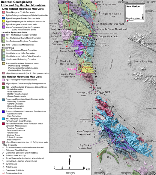 Bedrock geologic map of Little and Big Hatchet Mountains. Major faults discussed in text are labeled. Geologic map of the Little Hatchet Mountains is adapted and modified from Zeller (1970), Hodgson (2000), and Clinkscales and Lawton (2014). The geology of the Big Hatchet Mountains is simplified from Drewes (1991) and illustrates the major structural elements. Cross sections are shown in Figure 7.