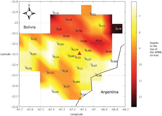 Contour plot showing the depth to the top of the low-velocity zone of the Altiplano-Puna magma body (APMB). Color bar shows depth from sea level (in km). Dark red is deeper; yellow is shallow. Triangles are station locations, with station names. Red triangle in center is location of Uturuncu volcano.