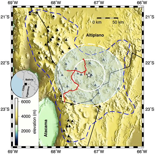 Overview map of the Altiplano-Puna region of southern Bolivia. White star (22.270°S, 67.233°W) marks the maximum uplift of ~1 cm/yr–1 as detected by interferometric synthetic aperture radar (InSAR) line-of-sight measurements (Henderson and Pritchard, 2017), located on the western slope of Uturuncu volcano. Spatial extent of the uplifting region, determined to have a radius of ~40 km from InSAR data, is marked by a white solid circle. Peripheral subsidence, between ~40 and ~70 km distance, is shown by the white dashed circle. Dashed blue line outlines the spatial extent of the Altiplano-Puna Volcanic Complex (de Silva, 1989). The spatial extent of the 2.5 km s–1 velocity contour of the S-wave velocity model of the Altiplano-Puna magma body at 20 km below sea level presented by Ward et al. (2014) is shown by the light-green transparent ellipse and is similar in size to the footprint of the InSAR anomaly. Black solid lines mark international borders; black triangles mark volcanic centers of the Altiplano-Puna Volcanic Complex. Red line shows the original leveling line (line BP), established in 1965. Elevations in the digital elevation model are given in meters above sea level.