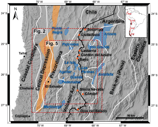 Digital elevation model image showing the main morphostructural units of the southern Central Andes Volcanic Zone (delimited by white lines; modified from Acocella et al., 2007). The relative position of the Paleogene volcanic arc is also exhibited (light orange), as well as Holocene active volcanoes (orange triangles). Main salar basins (blue hachured areas) and towns (black squares) are indicated for reference. Locations for Figures 2 and 5 are also indicated (red dashed boxes). The four volcanically active segments in the Andes, Northern Volcanic Zone (NVZ), Central Volcanic Zone (CVZ), Southern Volcanic Zone (SVZ), and Austral Volcanic Zone (AVZ) (Stern, 2004), are also indicated in the inset of South American map.