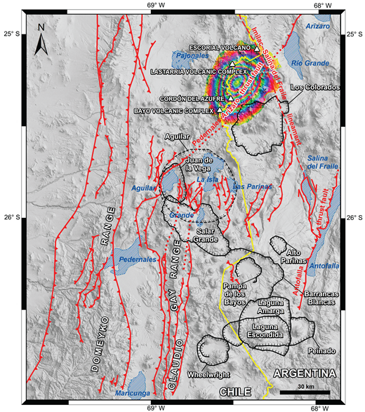 Main contractional fault systems (red lines) associated with the Andean uplift that affected the Domeyko and Claudio Gay Ranges. Thrust fault systems also affected early stages of the volcanic arc. It is noticeable that some calderas cut and obliterate older fault structures. Some calderas (black hachured lines) are aligned in conjugate angle with respect to the orientations of the contractional systems. The northern Imilac–Salina del Fraile lineament and the NW-SE dextral transtensive fault (upper right side) are also indicated. An intumescence interferogram (concentric color rings) of the Lazufre uplift area (e.g., Anderssohn et al., 2009), including the Lastarria, Cordón del Azufre, and Bayo volcanic complexes, forms a NW-oriented spatial lineament with the Los Colorados caldera which, in turn, is also conjugated at ∼30° with the middle Miocene Pedernales-Arizaro thrust fault. Main salar basins (blue hachured areas) are indicated for reference.