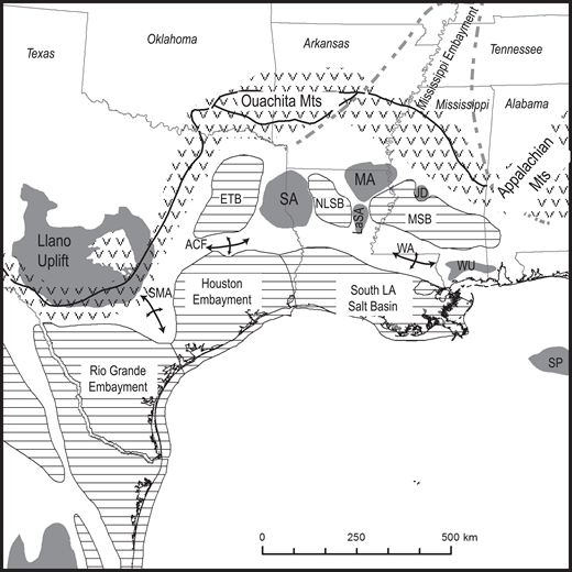 Northern Gulf of Mexico basin tectonic and structural elements. Modified from Ewing (1991) and Whitaker and Engelder (2006). SMA—San Marcos Arch; ETB—East Texas Basin; ACF—Angelina Caldwell flexure; SA—Sabine Arch; NLSB—North Louisiana (LA) Salt Basin; MA—Monroe Arch; LaSA—LaSalle Arch; JD—Jackson Dome; MSB—Mississippi Salt Basin; WA—Wiggins Arch; WU—Wiggins uplift; SP—Southern Platform. V pattern indicates high-relief uplifts; solid gray pattern and perpendicular arrows indicate low-relief uplifts and persistent arches; horizontal lines pattern indicates subsiding basins; gray dashed line outlines Mississippi Embayment.