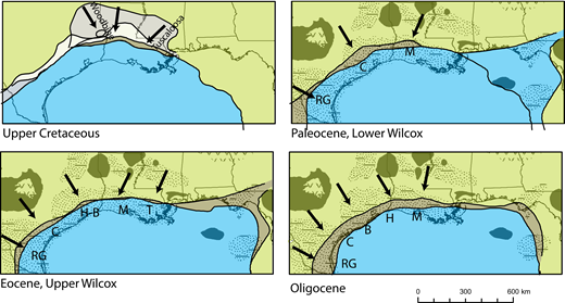 Fluvial axes (arrows) for the northern Gulf of Mexico from the Upper Cretaceous to Oligocene. Dark-green inland areas mark persistent uplifts and arches; gray area indicates subsiding region during late Cretaceous; beige area indicates Jurassic to lower Cretaceous shelf progradation; brown area indicates shelf progradation; stipple pattern indicates basins; blue area indicates offshore. Modified from compilations of Galloway (2001), Galloway (2005), Galloway (2008), and Galloway et al. (2011). RG—Rio Grande paleo-fluvial axis; C—Colorado paleo-fluvial axis; M—Mississippi paleo-fluvial axis; H-B—Houston-Brazos paleo-fluvial axis; H—Houston paleo-fluvial axis; B—Brazos paleo-fluvial axis; T—Tennesse paleo-fluvial axis.