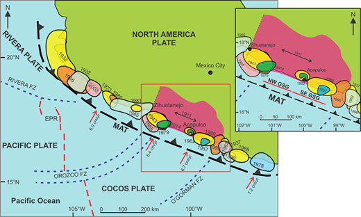 Tectonic setting of the Mexican subduction zone (MAT—Middle America Trench [black dashed line with barbs]; FZ—fracture zone [blue dashed lines]; EPR—East Pacific Rise [red dashed line]). Red arrows show convergence rate (DeMets et al., 2010); colored circles show rupture zones of the most important thrust events and their year; double-headed arrow shows the approximate rupture zone of the 1911 event; red square and inset show the Guerrero seismic gap (GSG; NW GSG—northwestern GSG; SE GSG—southeastern GSG); pink shaded irregular polygon shows the approximate slip zone of slow slip events (SSEs) based on slip areas of the A.D. 2001–2002, 2006, and 2009–2010 SSEs (after Radiguet et al., 2012).