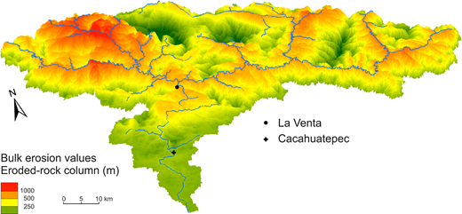 Perspective three-dimensional view of the minimum bulk erosion spatial variability (eroded-rock column) in the Papagayo River drainage basin.