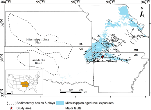 Mississippian rock exposures in the quad-state area of southeast Kansas (KS), southwest Missouri (MO), northeast Oklahoma (OK), and northwest Arkansas (AR). The star depicts the location of the study outcrops at War Eagle quarry. Anadarko and Arkoma Basins host age-equivalent and genetically related reservoirs to the studied rocks. Inset map: States of continental United States.