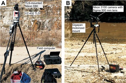Pictures showing the instrument setup of (A) RIEGL VZ-400 laser scanner and (B) Gigapan robotic camera mount.