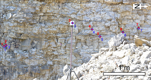 An example of gigapixel imagery showing the registration accuracy. Red markers—tie points selected on the image; blue markers—corresponding lidar tie points projected onto the image using the parameters discussed in the text. Standard deviation for this scene was ∼33 pixels (9 mm). Tie points 1–5 and 7 are retro-reflective stickers, whereas tie point 6 is a natural target easy to identify in point-cloud data (corner of a rock).