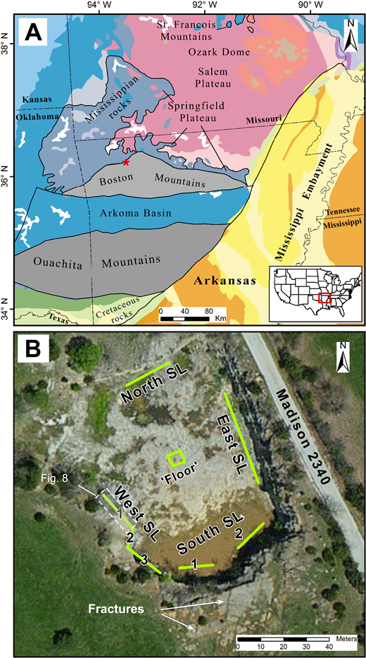 (A) Regional map illustrating geological and selected physiographic provinces of Arkansas and adjacent areas. Red star indicates the location of the study area. (B) Aerial view of the War Eagle quarry. Green lines depict the various scanline orientations, which also encompass sampling domains. Some large-scale (>5 m) fractures are exposed in plan view over the south quarry wall (e.g., Fig. 2B). SL—scanline.