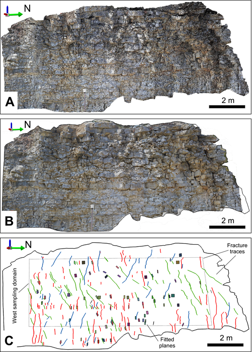 Example lidar scanning products of the west wall in War Eagle quarry (see Fig. 7B for location). (A) Point-cloud data colorized with gigapixel imagery consisting of 7 million points used for manual fracture plane interpretation. (B) Surface reconstruction texturized with panoramic images acquired with the robotic camera stage used for identification of fracture traces (solid blue lines). (C) Fracture panes and traces mapped using data shown in (A) and (B), respectively. Colors of fracture traces represent different fracture sets: green—set 1; red—set 2; and blue—set 3.